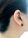 3.92ctw 6 x 8 mm. Emerald Cut Genuine Natural Garnet Earrings 14kt White Gold