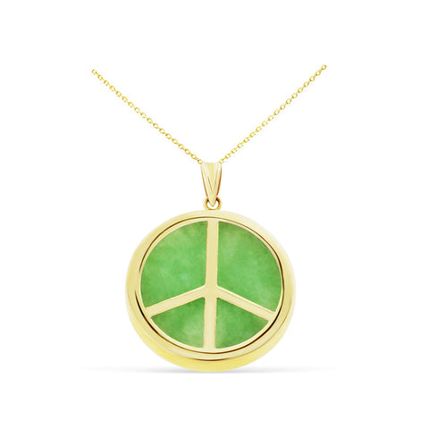 Genuine Natural Green Jade Peace Sign Pendant 14kt Yellow Gold