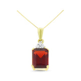 1.75ctw 6 x 8 mm. Emerald Cut Genuine Natural Garnet and Diamond Pendant 14kt Yellow Gold