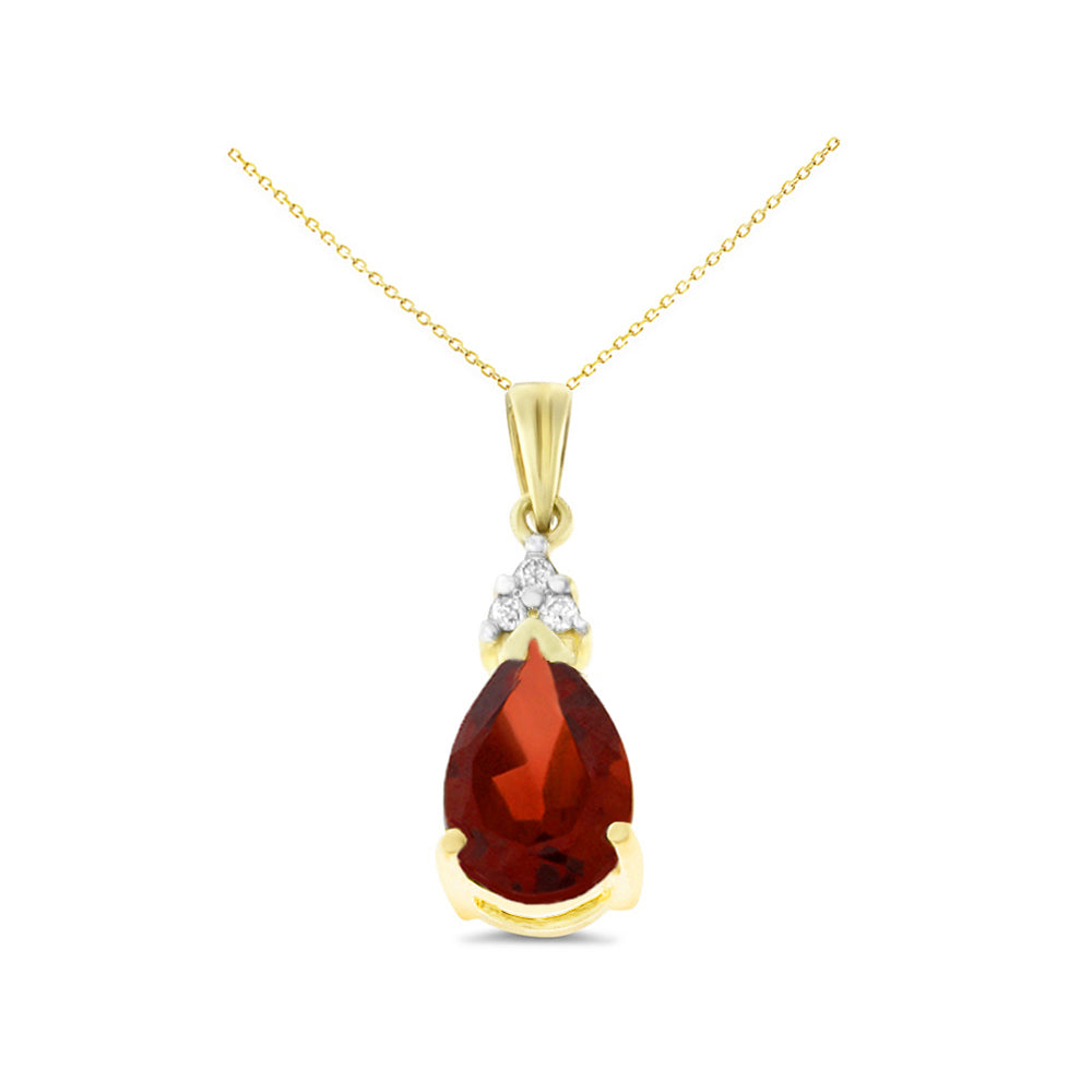 1.60ctw 6 x 8 mm. Pear Genuine Natural Garnet and Diamond Pendant 14kt Yellow Gold