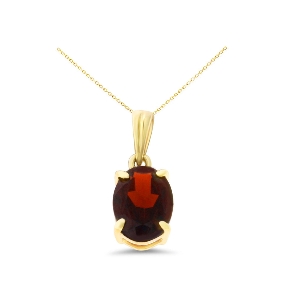 1.43ctw 6 x 8 mm. Oval Shaped Genuine Natural Garnet Pendant 14kt Yellow Gold
