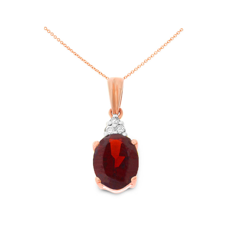 1.80ctw 6 x 8 mm. Oval Genuine Natural Garnet and Diamond Pendant 14kt Rose Gold