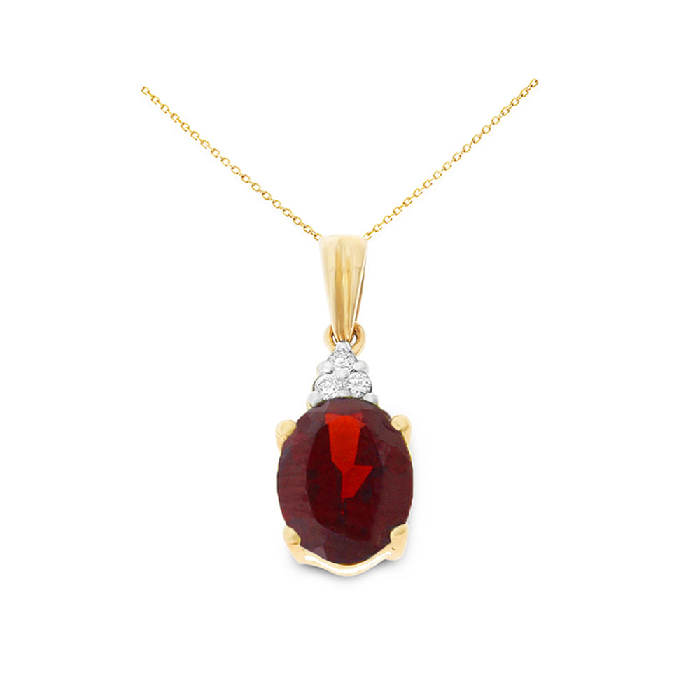 1.80ctw 6 x 8 mm. Oval Genuine Natural Garnet and Diamond Pendant 14kt Yellow Gold