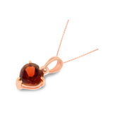 0.87ctw 6 mm. Heart Genuine Natural Garnet Pendant 14kt Rose Gold