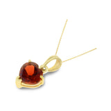 0.87ctw 6 mm. Heart Genuine Natural Garnet Pendant 14kt Yellow Gold
