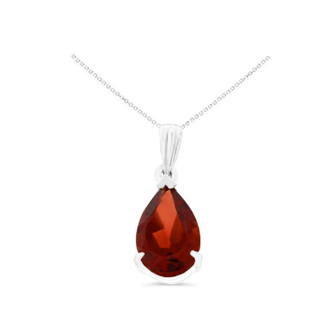 1.38ctw 6 x 8 mm. Pear Genuine Natural Garnet Pendant 14kt White Gold