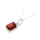 1.21ctw 5 x 7 mm. Emerald Cut Genuine Natural Garnet Pendant 14kt White Gold