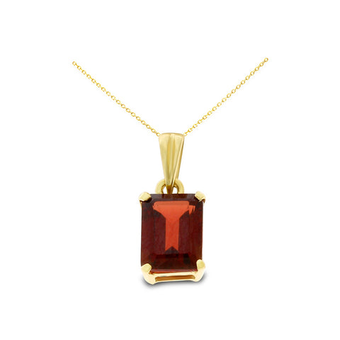 1.21ctw 5 x 7 mm. Emerald Cut Genuine Natural Garnet Pendant 14kt Yellow Gold