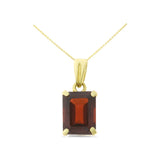 2.05ctw 6 x 8 mm. Emerald Cut Genuine Natural Garnet Pendant 14kt Yellow Gold