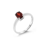 1.02ctw 5 x 7 mm. Oval Shaped Genuine Natural Garnet Ring Size 6.25 .925 Sterling Silver