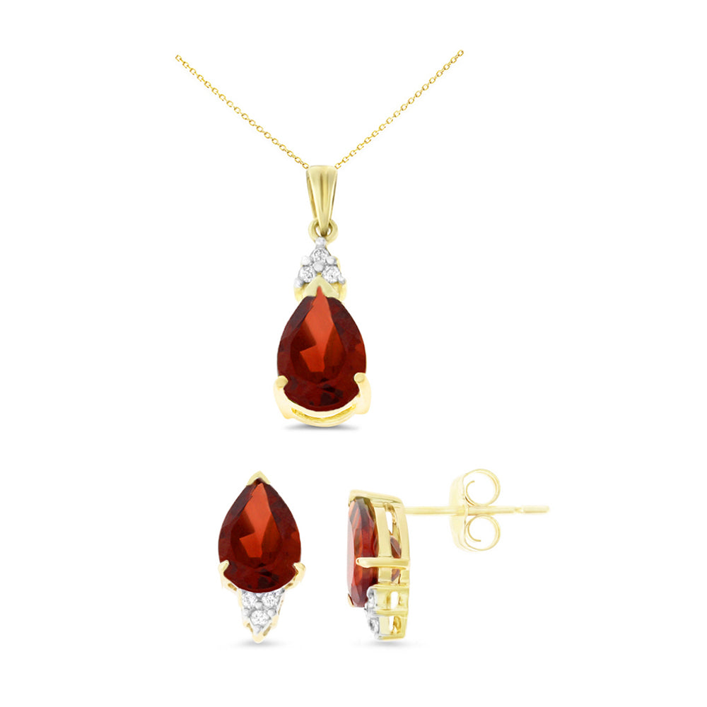 4.98ctw 6 x 8 mm. Pear Genuine Natural Garnet and Diamond Set 14kt Yellow Gold