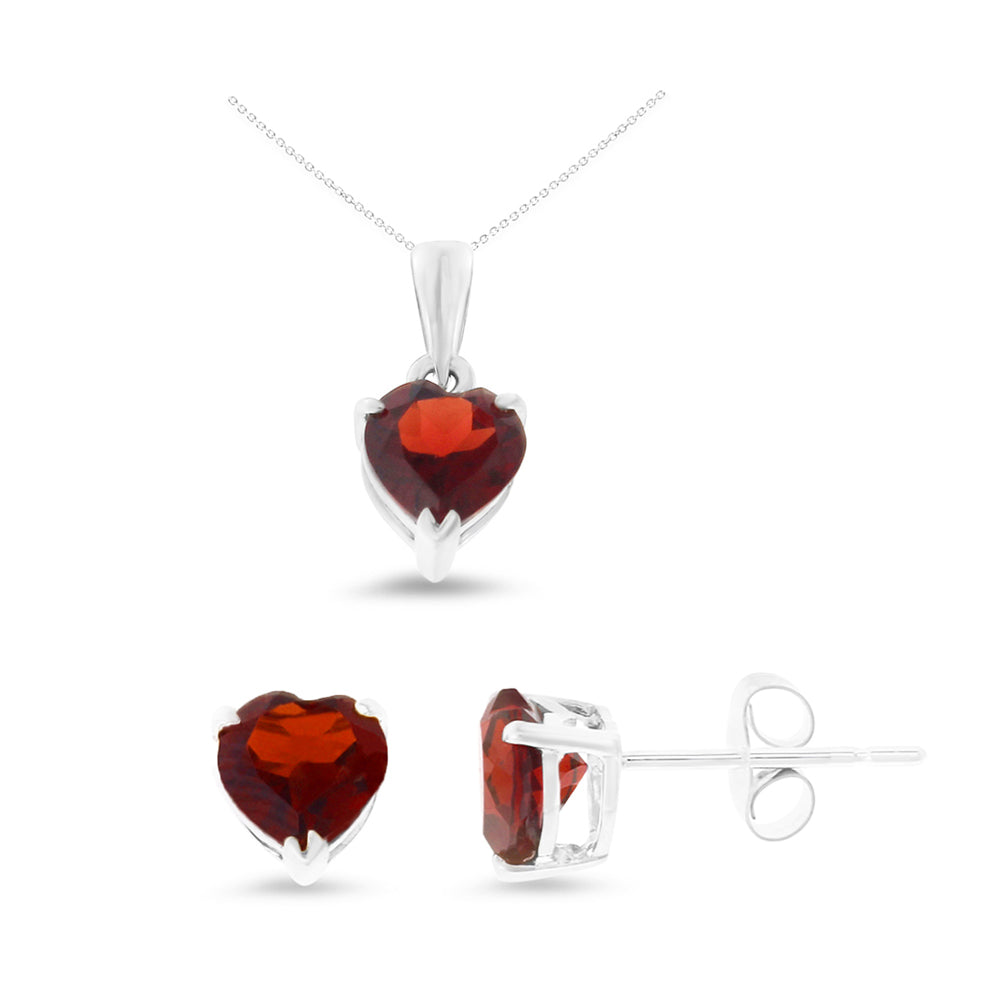 2.72ctw 6 mm. Heart Genuine Natural Garnet Set 14kt White Gold