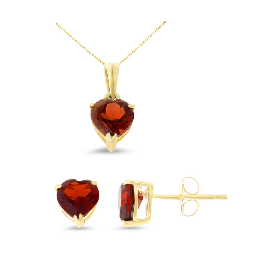2.72ctw 6 mm. Heart Genuine Natural Garnet Set 14kt Yellow Gold