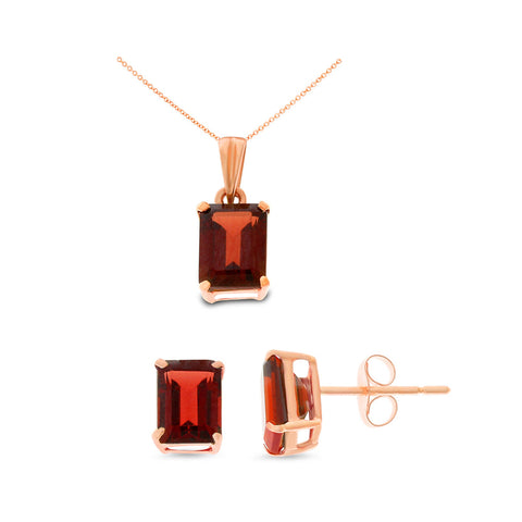 3.52ctw 5 x 7 mm. Emerald Cut Genuine Natural Garnet Set 14kt Rose Gold