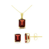 3.52ctw 5 x 7 mm. Emerald Cut Genuine Natural Garnet Set 14kt Yellow Gold