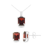 5.97ctw 6 x 8 mm. Emerald Cut Genuine Natural Garnet Set 14kt White Gold