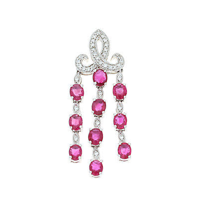 3.47ctw Genuine Natural Ruby and Diamond Pendant 18kt White Gold