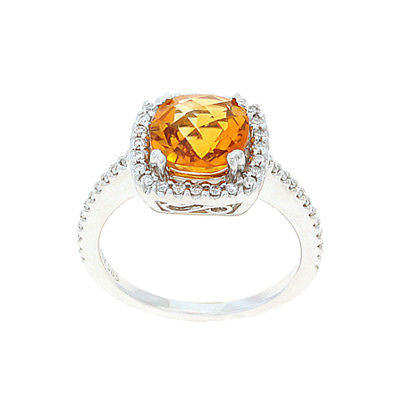 2 25ctw Genuine Natural Citrine and Diamond Ring Size 6 25 14kt White Gold