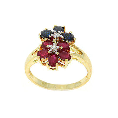 2.11ctw Genuine Natural Multi-Color and Diamond Ring Size 6.75 14kt Yellow Gold