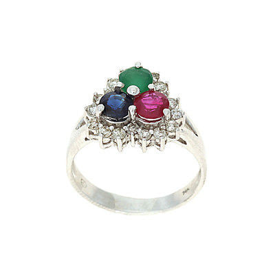1.86ctw Genuine Natural Multi-Color and Diamond Ring Size 7.5 14kt White Gold