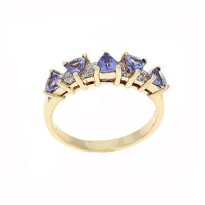 0.83ctw Genuine Natural Tanzanite and Diamond Ring Size 6.5 14kt Yellow Gold