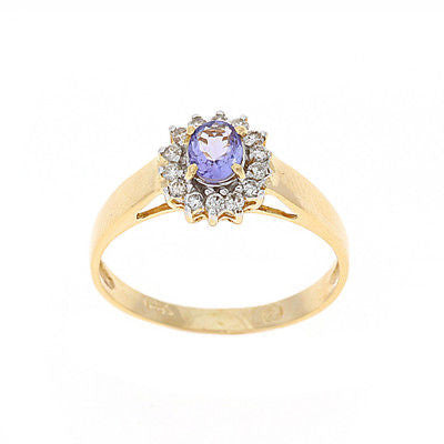 0.51ctw Genuine Natural Tanzanite and Diamond Ring Size 6.75 14kt Yellow Gold