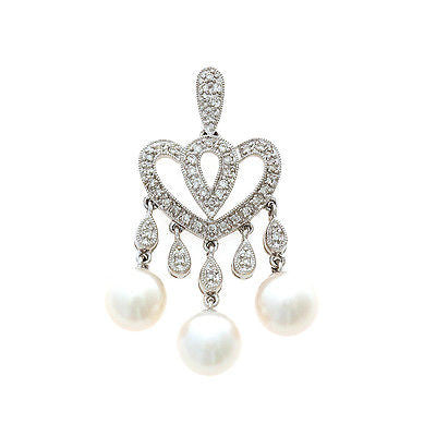 0.27ctw Genuine Natural White Pearl and Diamond Pendant 18kt White Gold