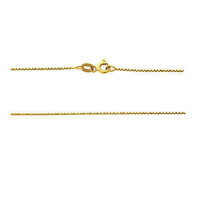 "20"" 0.9 mm. Round Box Necklace Gold Chain 14kt Yellow Gold"