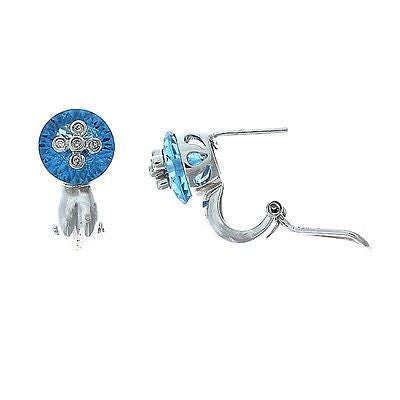 7.16ctw Genuine Natural Blue Topaz and Diamond Earrings 14kt White Gold