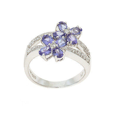 2.08ctw Genuine Natural Tanzanite and Diamond Ring Size 6.5 14kt White Gold