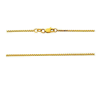 "16"" 1.1 mm. Square Box Necklace Gold Chain 14kt Yellow Gold"