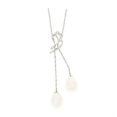 "16"" 0.08ctw Genuine Natural White Pearl and Diamond Necklace 14kt White Gold"