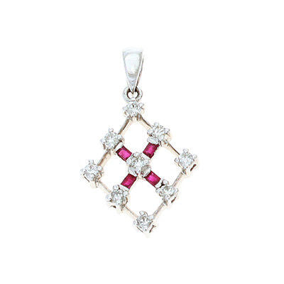 0.34ctw Genuine Natural Ruby and Diamond Pendant 14kt White Gold