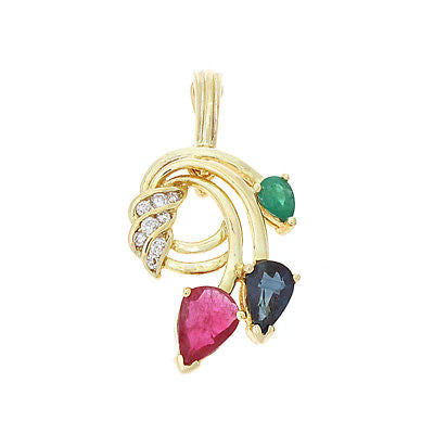 0.89ctw Genuine Natural Multi-Color and Diamond Pendant / Enhancer 14kt Yellow Gold