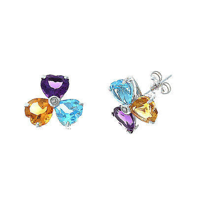 3.92ctw Genuine Natural Multi-Gemstone and Diamond Earrings 14kt White Gold