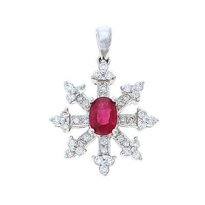 1.70ctw Genuine Natural Ruby and Diamond Pendant 18kt White Gold