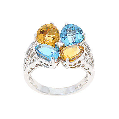 6.51ctw Genuine Natural Multi-Gemstone and Diamond Ring Size 7 14kt White Gold