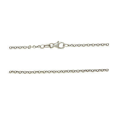 "18"" 1.3 mm. Round Rolo Necklace Gold Chain 14kt White Gold"