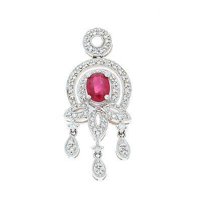 1.50ctw Genuine Natural Ruby and Diamond Pendant 18kt White Gold