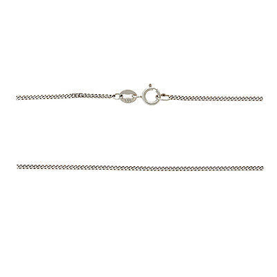 "18"" 0.6 mm. Flat Curb Necklace Gold Chain 14kt White Gold"