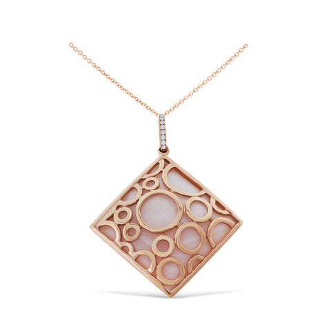 0.05ctw Genuine Natural Pink Mother of Pearl and Diamond Pendant 14kt Rose Gold