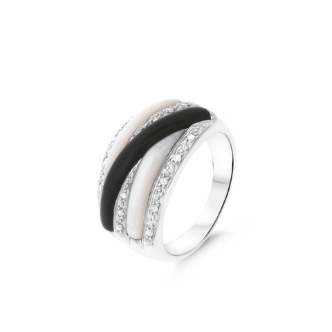 0.11ctw Genuine Natural Mother of Pearl / Black Onyx and Diamond Ring Size 7.25 14kt White Gold