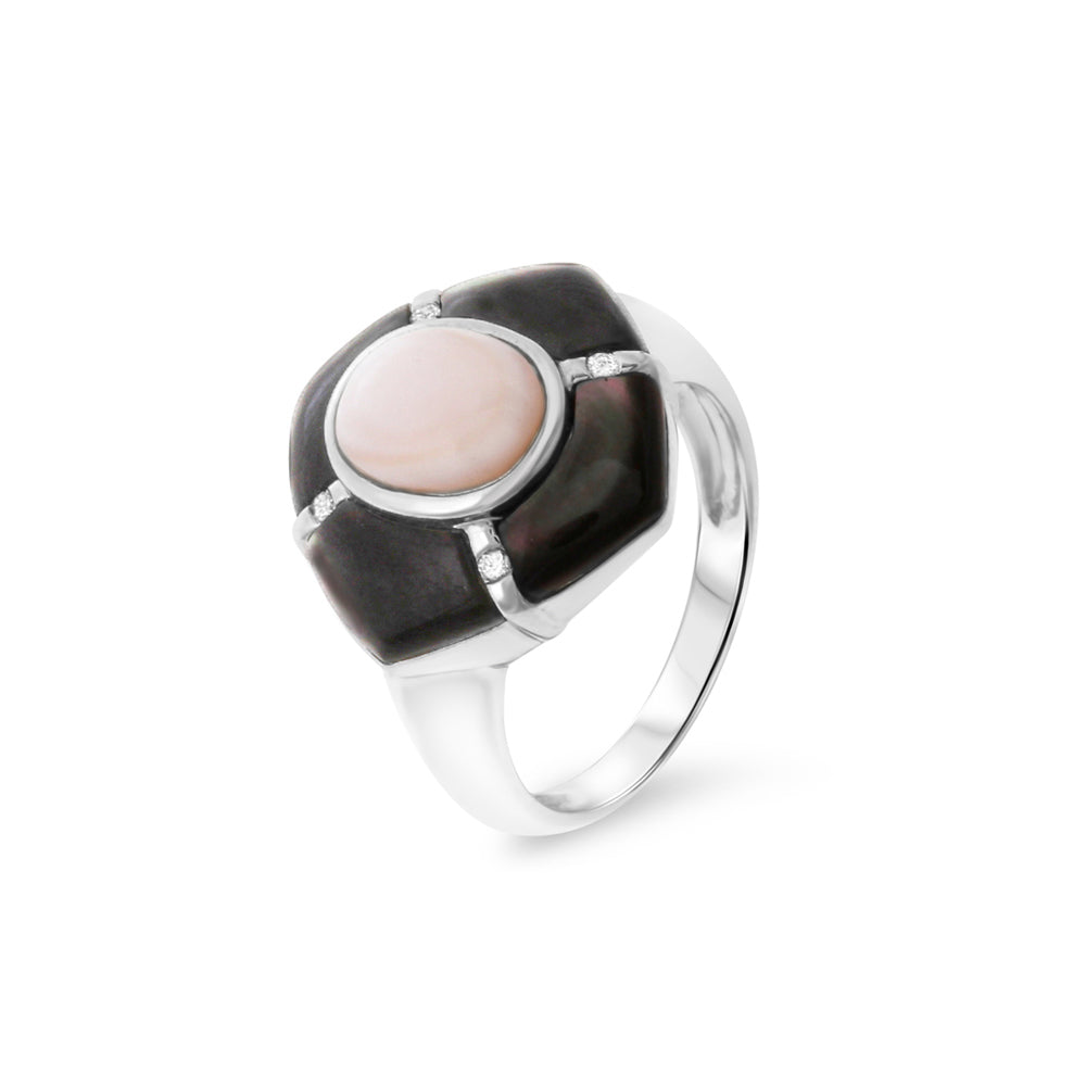 0.04ctw Genuine Natural Pink / Black Mother of Pearl and Diamond Ring Size 7.25 14kt White Gold