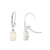 0.85ctw 5 x 7 mm. Oval Genuine Natural Opal Leverback Earrings 14kt White Gold