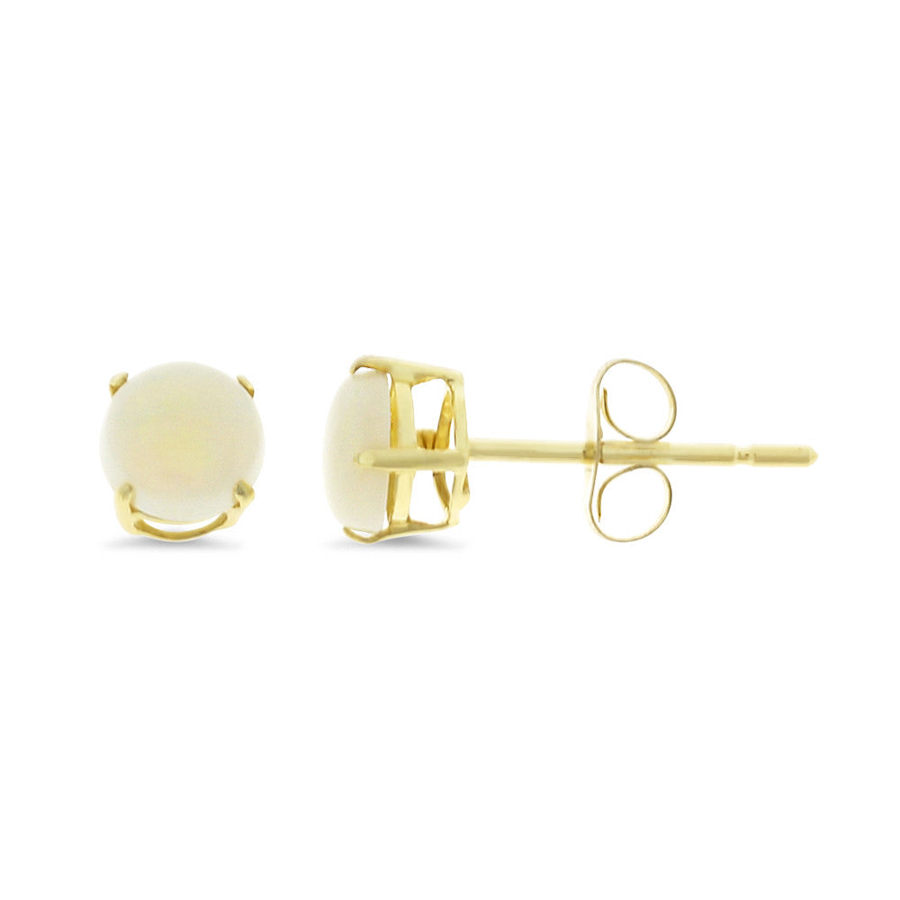 0.70ctw 5 mm. Round Shaped Genuine Natural Opal Earrings 14kt Yellow Gold