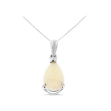 1.10ctw 6 x 8 mm. Pear Shaped Genuine Natural Opal Pendant 14kt White Gold