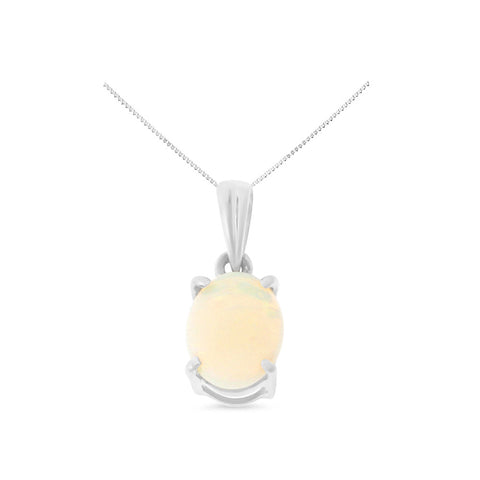 0.45ctw 6 x 8 mm. Oval Shaped Genuine Natural Opal Pendant 14kt White Gold