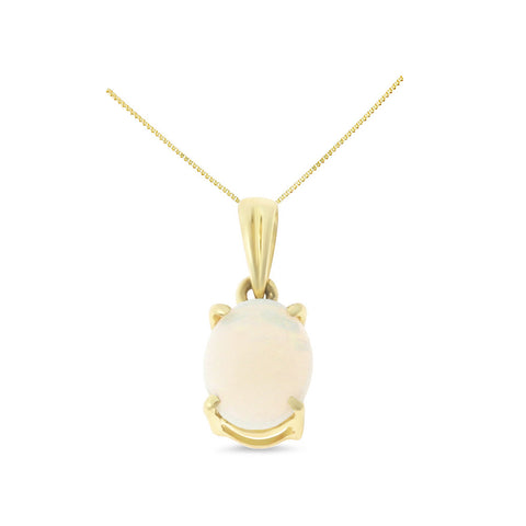 0.45ctw 6 x 8 mm. Oval Shaped Genuine Natural Opal Pendant 14kt Yellow Gold