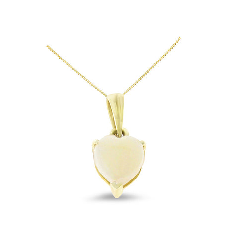 0.43ctw 6 mm. Heart Shaped Genuine Natural Opal Pendant 14kt Yellow Gold