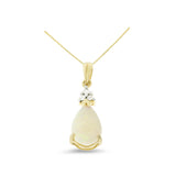 1.13ctw 6 x 8 mm. Pear Genuine Natural Opal and Diamond Pendant 14kt Yellow Gold